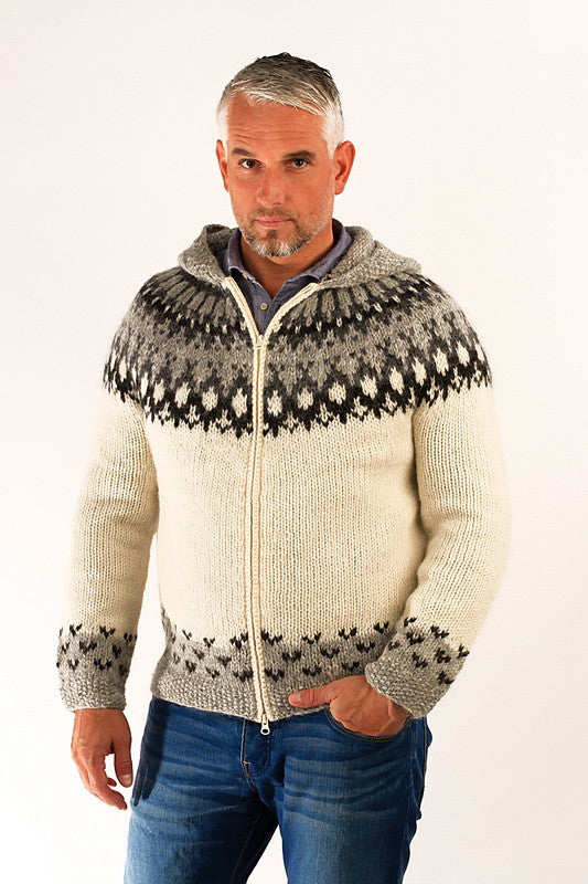 Icelandic sweaters and products - Skipper Wool Cardigan w/Hood White Wool Sweaters - NordicStore