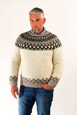 Icelandic sweaters and products - Skipper Wool Pullover White Wool Sweaters - NordicStore