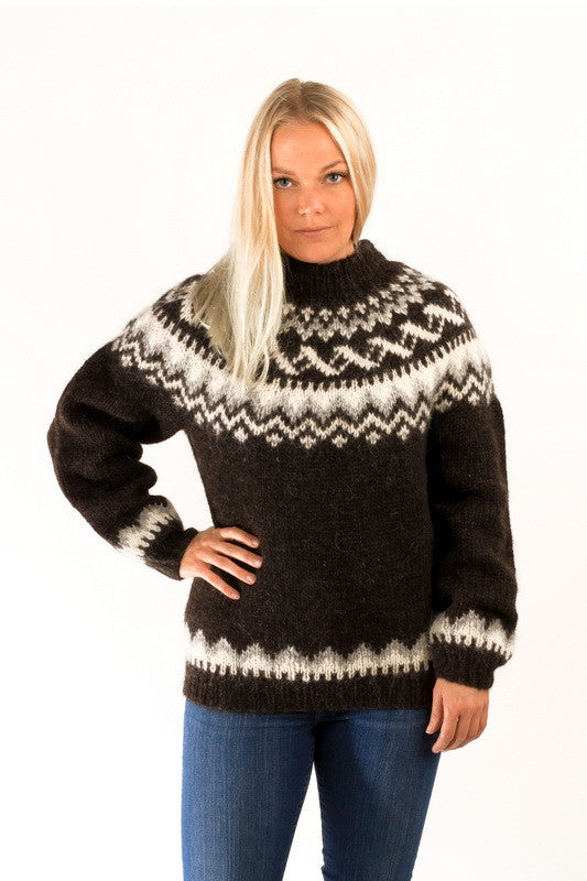 Icelandic sweaters and products - Traditional Wool Pullover Black Wool Sweaters - NordicStore