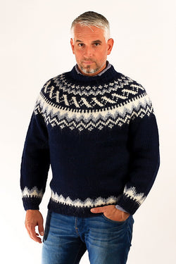 Icelandic sweaters and products - Traditional Wool Pullover Blue Wool Sweaters - NordicStore