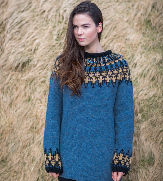 - Icelandic Vættir Women Wool Sweater Blue knitting kit -  - Nordic Store Icelandic Wool Sweaters
