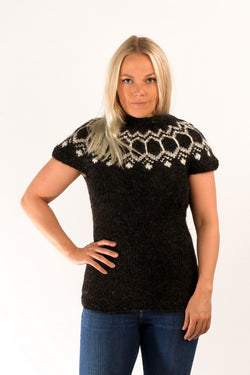 Icelandic sweaters and products - Wool Vest Black Wool Sweaters - NordicStore