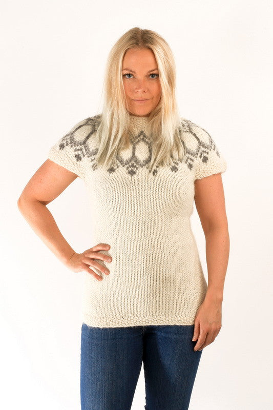 Icelandic sweaters and products - Wool Vest White Wool Sweaters - NordicStore