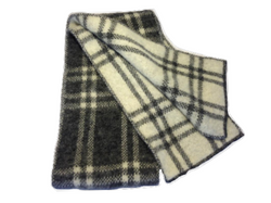 Brushed Wool Scarf - White & Grey Checkered