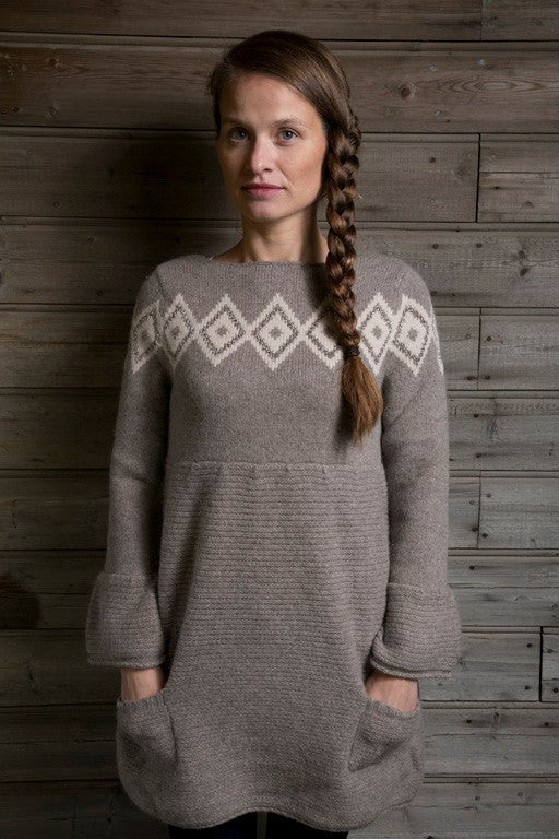 Icelandic sweaters and products - Freyja Dress Brown Icelandic Design - NordicStore