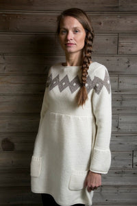 Icelandic sweaters and products - Freyja Dress White Icelandic Design - NordicStore