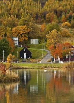 Icelandic sweaters and products - Autumn in Akureyri - Jigsaw Puzzle (1000pcs) Puzzle - NordicStore