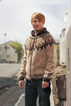 Icelandic sweaters and products - Frost Wool Cardigan - Brown (zipper or buttons) Wool Knitting Kit - NordicStore