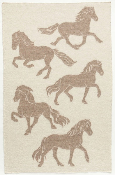 Icelandic Products Álafoss Wool Blanket - Jaquard Horse (0101) Wool Blanket - NordicStore
