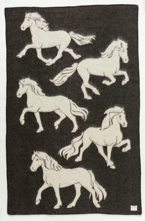 Icelandic sweaters and products - Álafoss Wool Blanket - Jaquard Horse 2 (0102) Wool Blanket - NordicStore