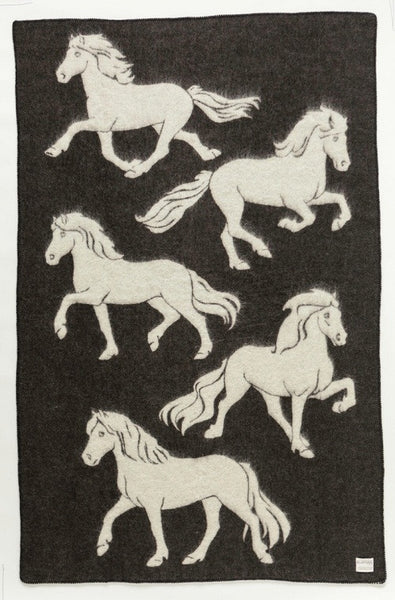 Icelandic Products Álafoss Wool Blanket - Jaquard Horse 2 (0102) Wool Blanket - NordicStore