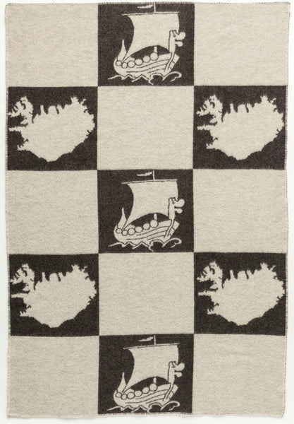 Icelandic Products Álafoss Wool Blanket - Jaquard Viking (0203) Wool Blanket - NordicStore