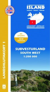 Icelandic sweaters and products - Regional Map 1 - South West 1:200.000 Maps - NordicStore