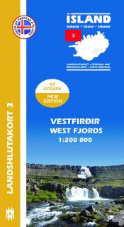 Icelandic sweaters and products - Regional Map 3  -  West Fjords 1:200.000 Maps - NordicStore