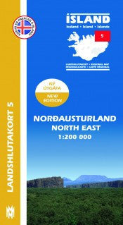 Icelandic sweaters and products - Regional Map 5  - North East 1:200.000 Maps - NordicStore