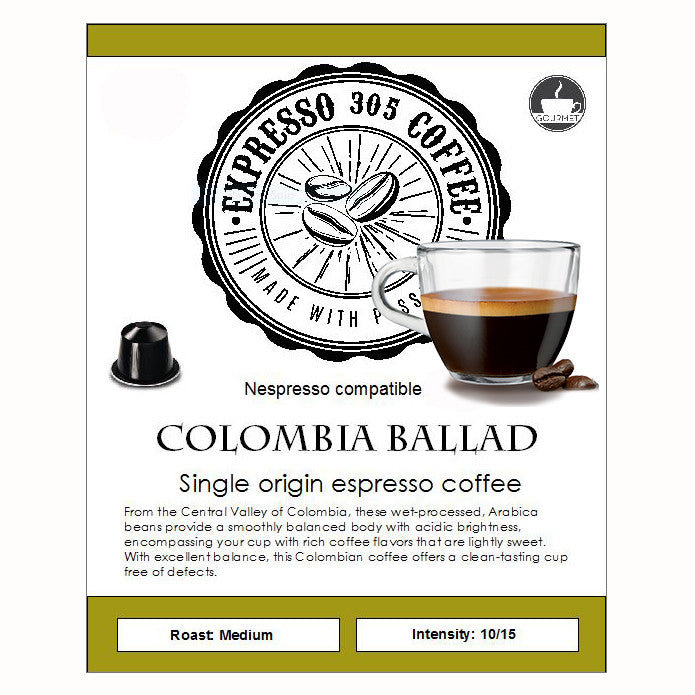 Nespresso capsules pods compatible FRESHLY ROASTED Single Origin Coffee COLOMBIA