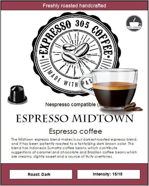 Nespresso capsules pods compatible FRESHLY ROASTED coffee ESPRESSO MIDTOWN