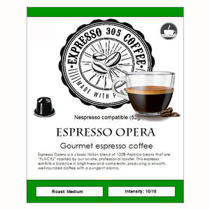 Nespresso capsules pods compatible FRESHLY ROASTED crafted gourmet Coffee OPERA