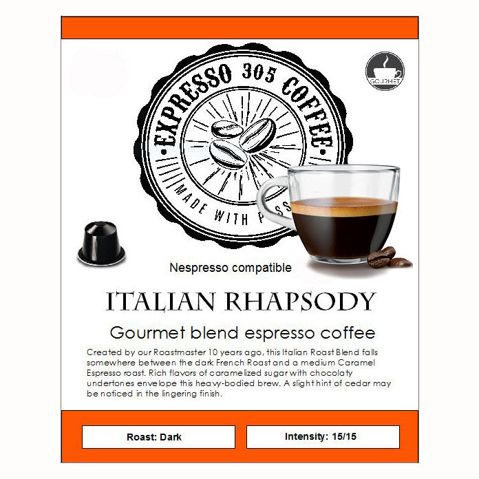 Nespresso capsules pods compatible FRESHLY ROASTED gourmet coffee RHAPSODY