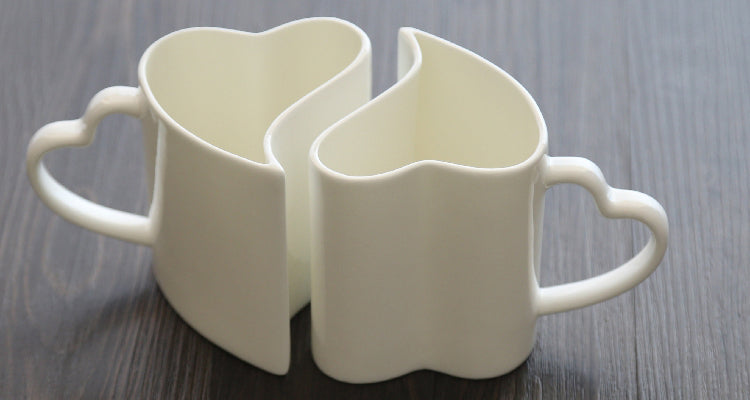 350ML 2pcs/lot Valentine's wedding gift Heart shaped couple mug Bone china nespresso coffee Mug Ceramic zakka milk Morning mug