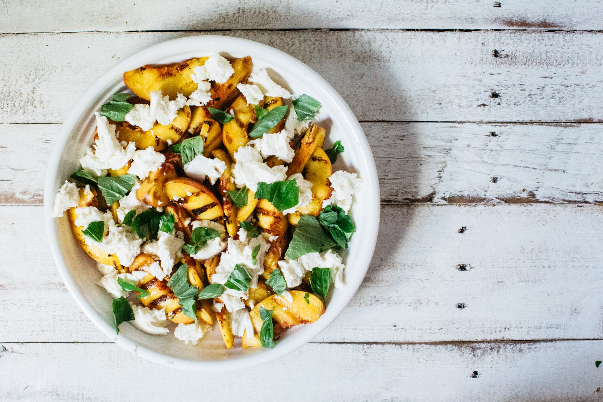 Arthur St Kitchen Grilled peach salad with mozzarella, basil and honey