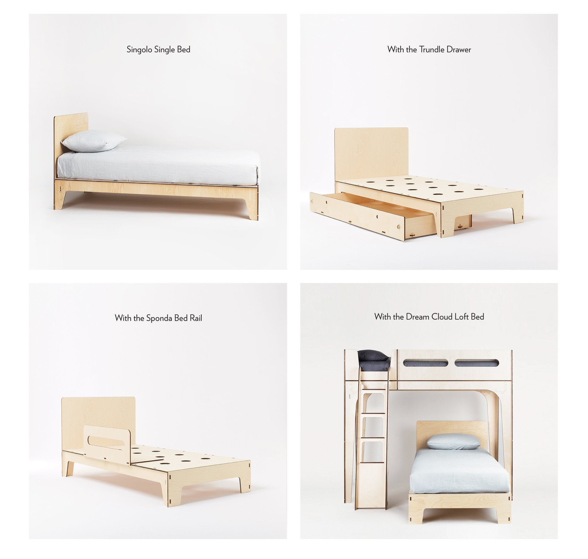 Plyroom Singolo Single Bed maximises space with a trundle drawer