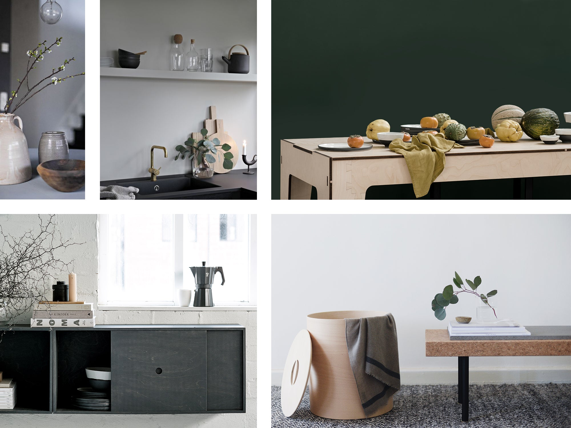 Mood board showing seasonal produce, Plyroom furniture and winter floral arrangements