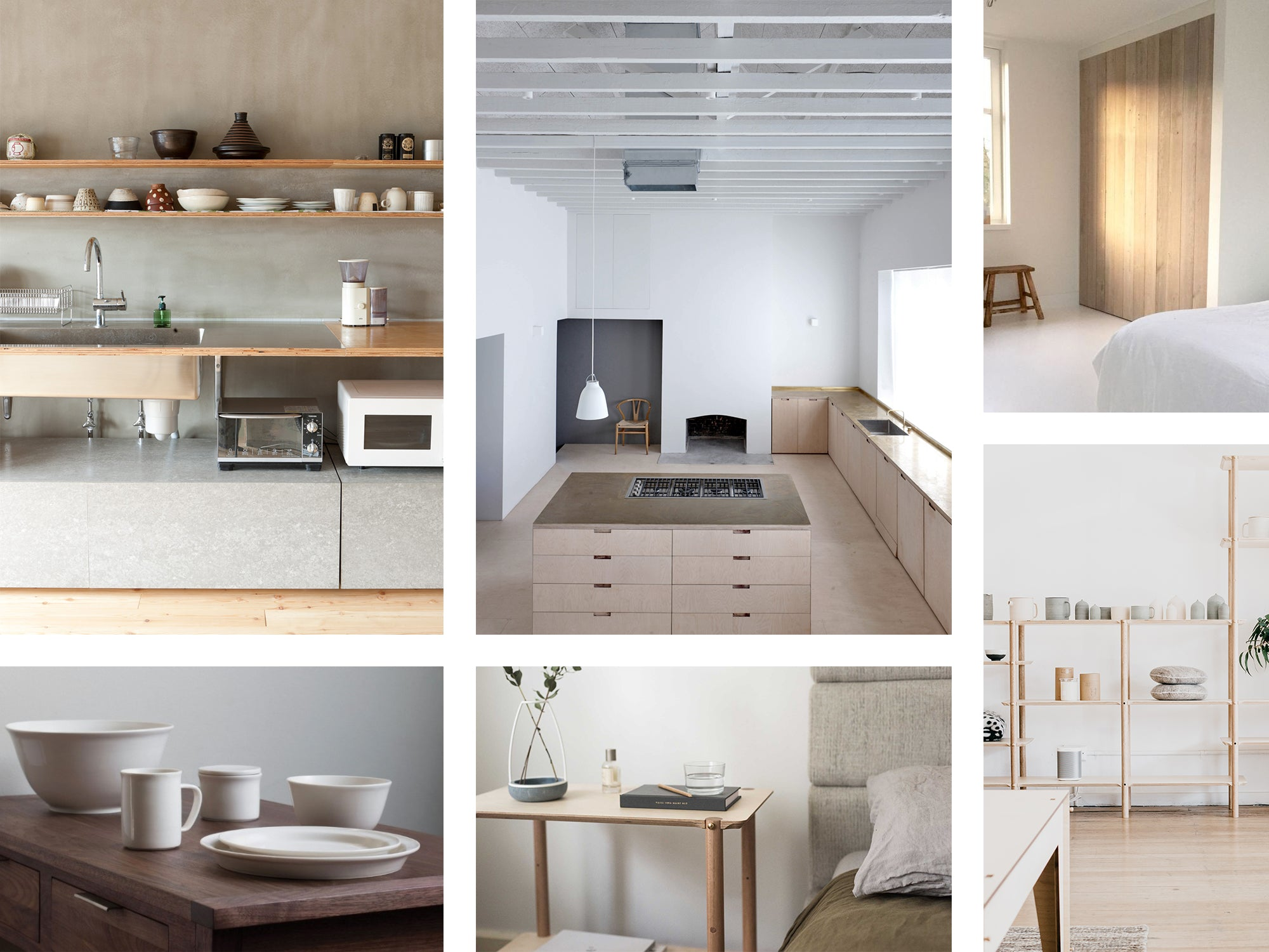 Minimalist interior design mood board featuring Plyroom and other simple interior design examples
