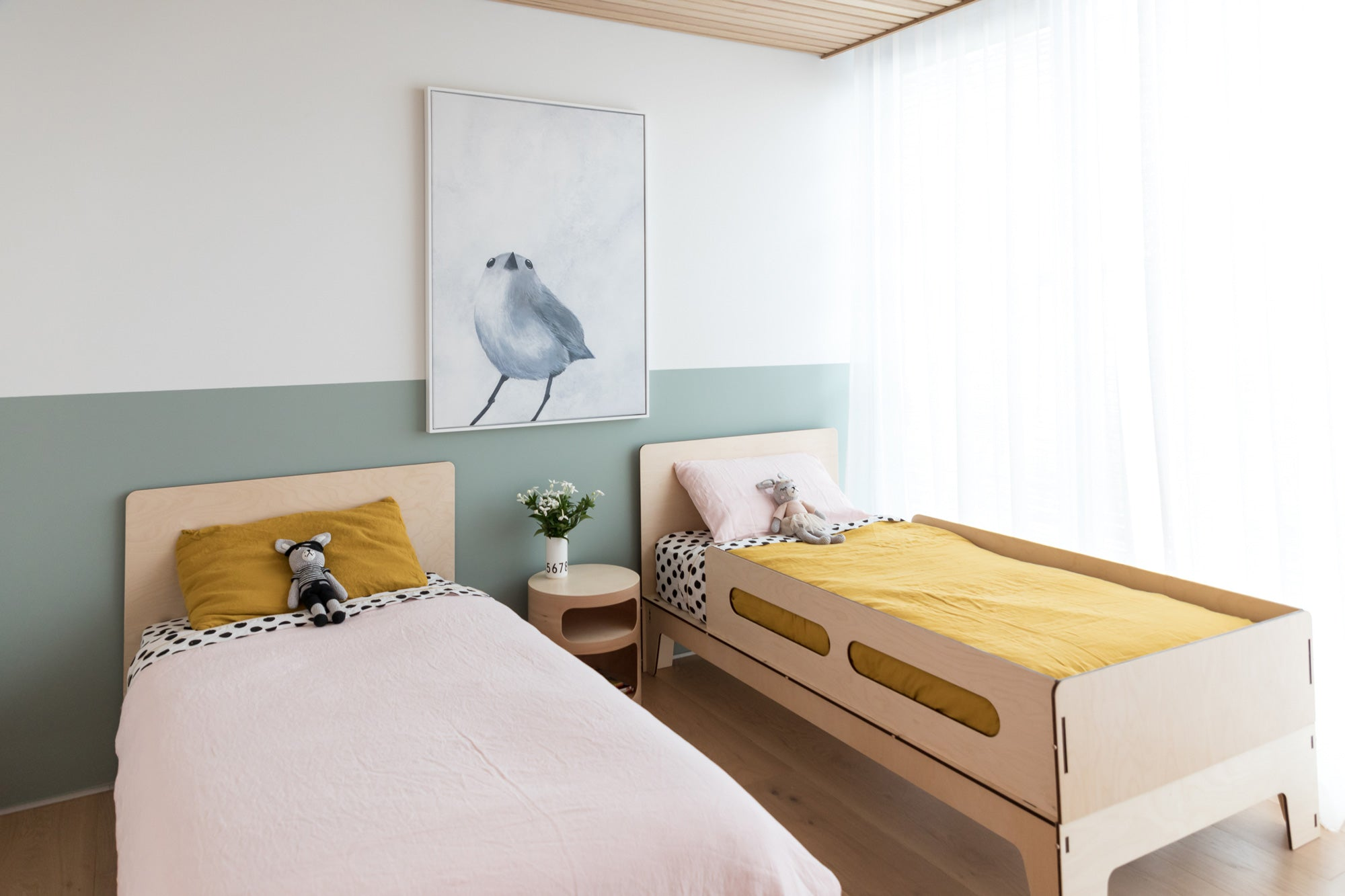 Image of a girl's bedroom design by Hide and Sleep featuring the Sleigh Single Bed