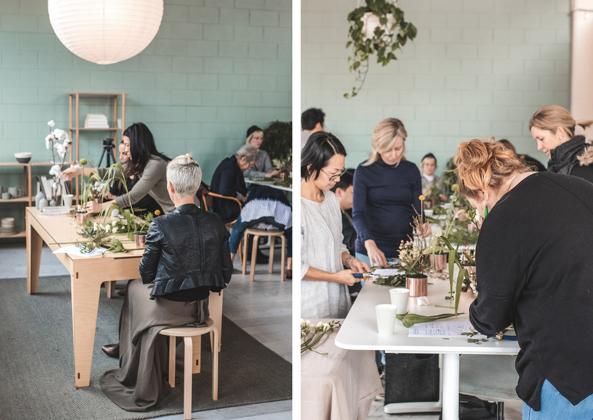 Image of the ikebana workshop with shoso shimbo at the Plyroom studio
