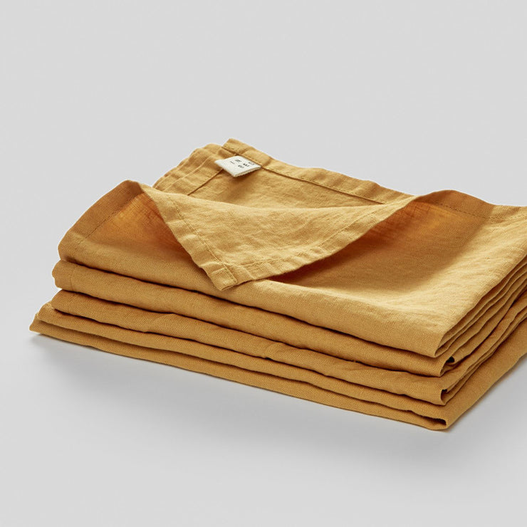 100% linen napkin set in mustard