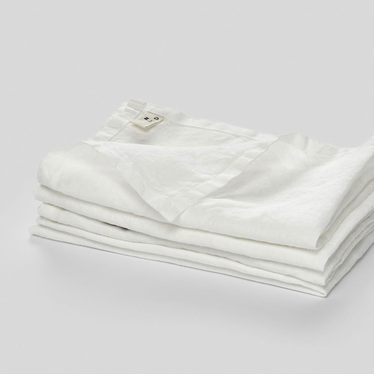 100% linen napkin set in white