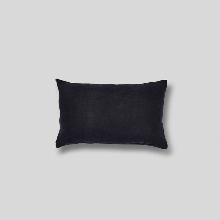 100% linen rectangle cushion in navy