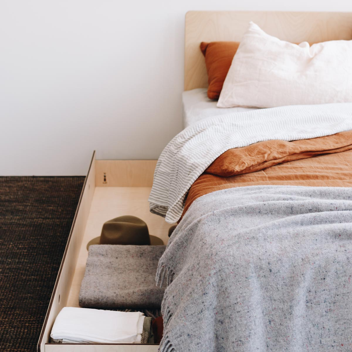 Modern Bed with Storage in Melbourne by Plyroom