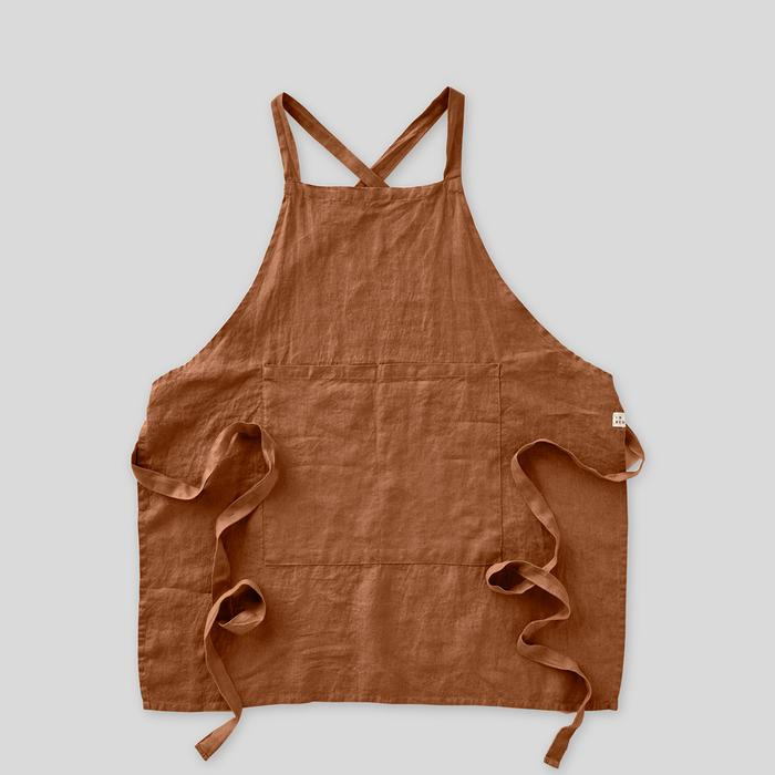 100% linen apron in toffee