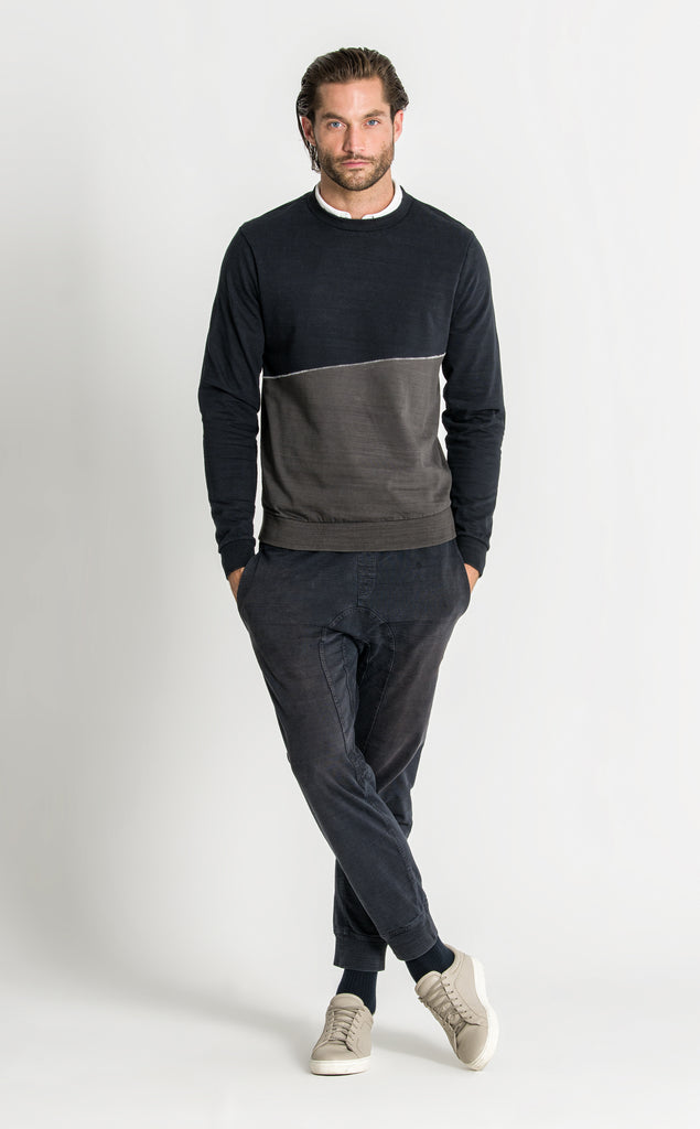 DANCER CONTRAST SWEAT/3/BLUE BLACK-DARK OLIVE