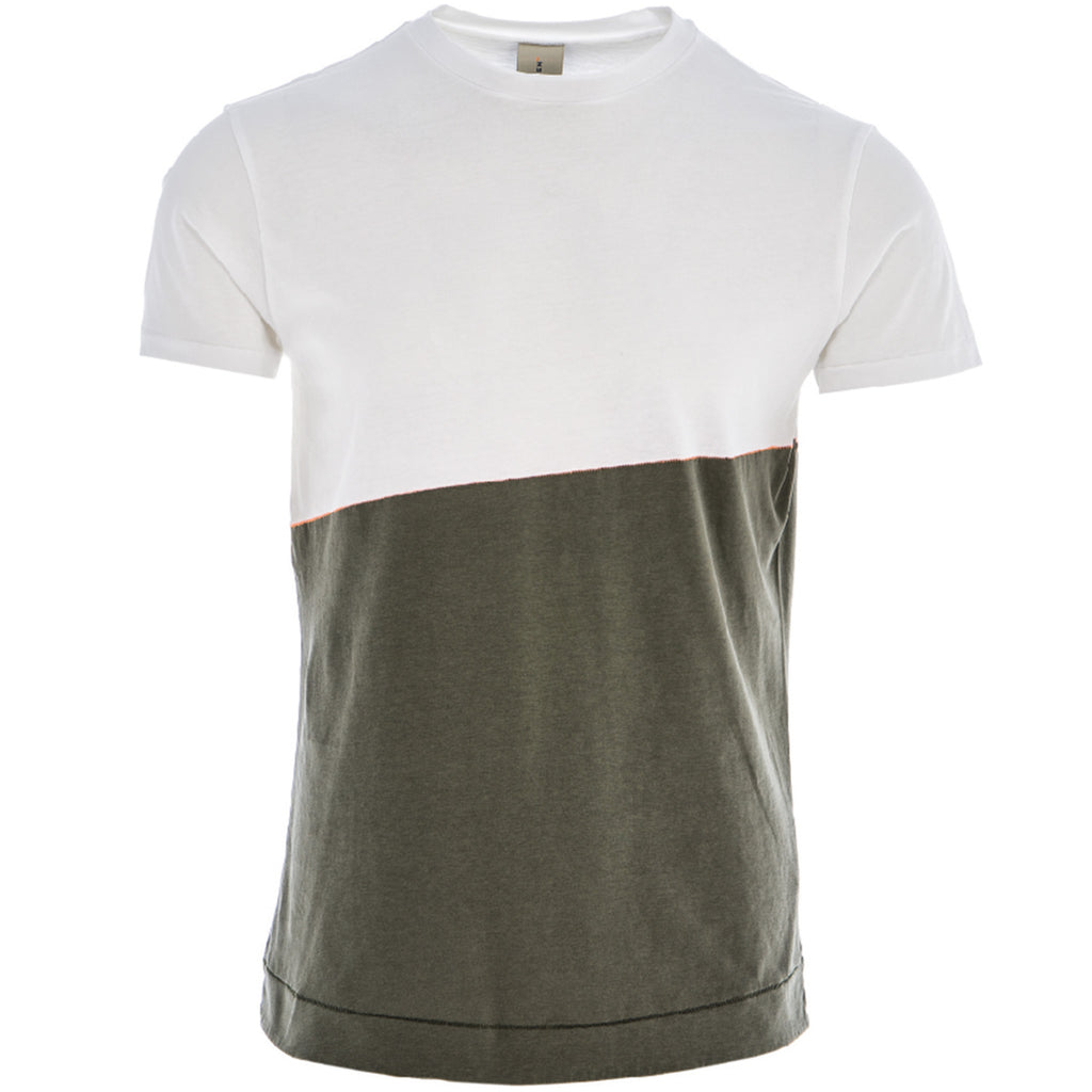 DRIVER CONTRAST T SHIRT/1/WHITE-OLIVE