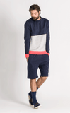 DANCER CONTRAST SWEAT/2/NAVY-LT GREY MEL-NEON RED