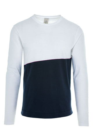 DRIVER CONTRAST LONG SLEEVE T-SHIRT / WHITE-NAVY