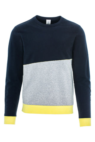 DANCER CONTRAST SWEATSHIRT / NAVY-LIGHT GREY-CITRON