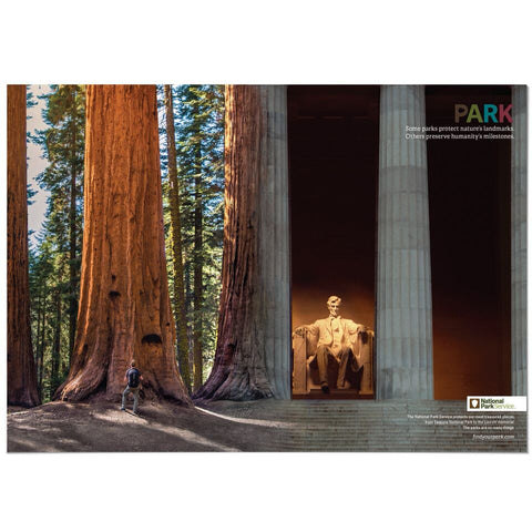 Sequoia National Park/Lincoln Memorial Mashup Poster