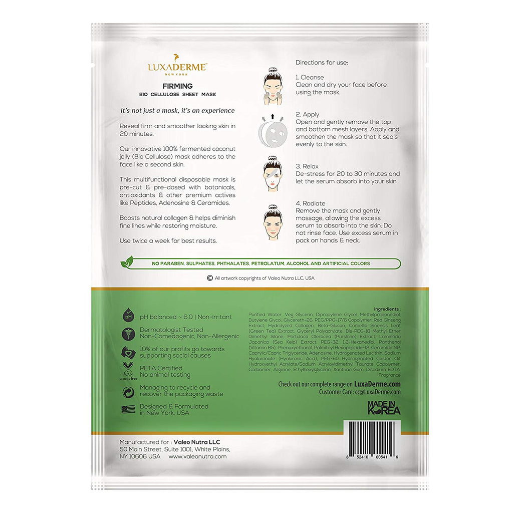 LuxaDerme Firming Bio Cellulose Face Sheet Mask
