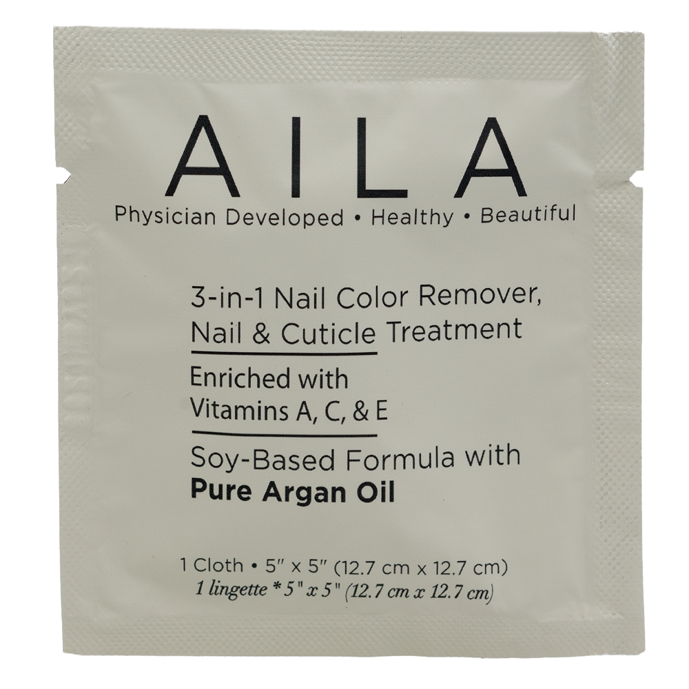 AILA 3-in-1 Soy Based Nail Color Remover Individual Cloths