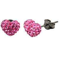 TRESOR PARIS RAI CRYSTAL HEART STUD EARRINGS - PINK