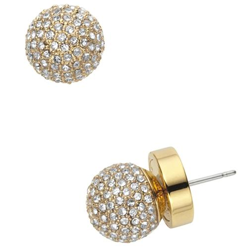 MICHAEL KORS GOLDEN TONE PAVE STUD EARRINGS