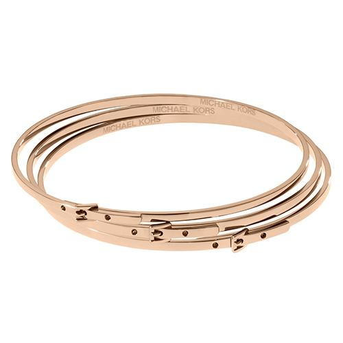 MICHAEL KORS ROSE GOLDEN TONE SKINNY BUCKLE BANGLES
