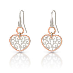 Nomination Silver & Rose Gold Plated Heart Earrings