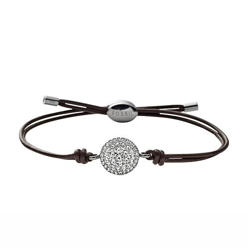 Fossil Ladies Vintage Glitz Iconic Leather Bracelet