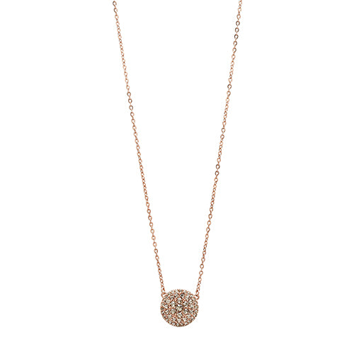Fossil Glitz Disc Rose Gold Tone Necklace