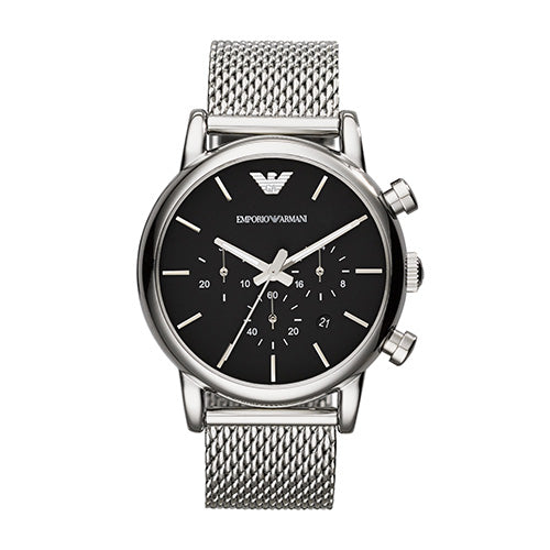 Emporio Armani Gents Classic Stainless Steel Mesh Strap & Black Dial Watch